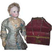 SPECTACULAR Rare Antique French Fashion Doll Burgundy Leather FULLY STOCKED Miniature Sac-Du-Voyage!