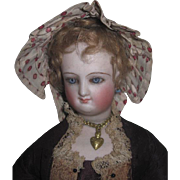 CHARMING Antique Red Polka Dot Cotton Ruffled Doll Bonnet for CHINA or FASHION DOLL!