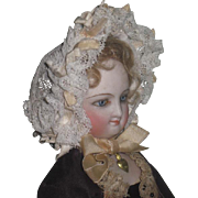 MAGNIFICENT Antique French Fashion Doll Ribbon & Lace Morning Bonnet!