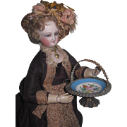 RARE Hand Painted Antique French Miniature French Fashion Doll Bridal Basket!