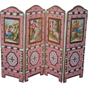 MAGNIFICENT French O-O-A-K Miniature Hand Made Doll Folding Screen!