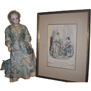 "RARE Antique French ""Magasin Des Demoiselles"" Hand Colored Engraving with FASHION DOLL!"