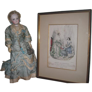 """RARE Antique French """"Magasin Des Demoiselles"""" Hand Colored Engraving with FASHION DOLL!"""