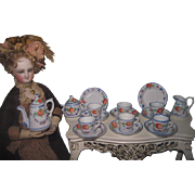 DELICATE Fashion Doll Scale Miniature Antique Hand Painted 17 Piece Tea Set!