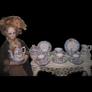 DELICATE Fashion Doll Scale Miniature Antique Hand Painted 17 Piece Tea Set!