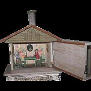 TINY Rare Circa 1920's Fully Accessorized Converse Wooden Dollhouse!