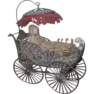ELABORATE Large Scale Antique German Miniature Filigree Wire Carriage with Antique All Bisque Baby!