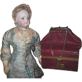 REDUCED! Spectacular Rare Antique French Fashion Doll Burgundy Leather FULLY STOCKED Miniature Sac-Du-Voyage!