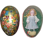 "SWEET 4 1/2"" Antique All Bisque Kestner doll in German Lithograph Presentation Easter Egg!"