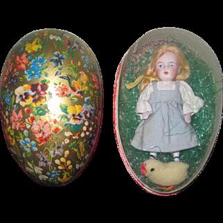"""SWEET 4 1/2"""" Antique All Bisque Kestner doll in German Lithograph Presentation Easter Egg!"""
