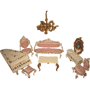 EXQUISITE 9 Piece Vintage German Spielwaren Miniature Parlor Furniture Set for MIGNONETTE Display!