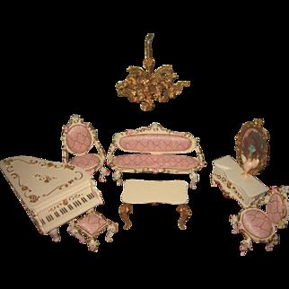 EXQUISITE 9 Piece Vintage German Spielwaren Miniature Parlor Furniture Set for MIGNONETTE Display!