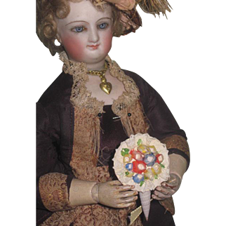 2 of 3!~SWEET Vintage Miniature Hand Painted Shell Art Floral Bouquet for Fashion Dolls