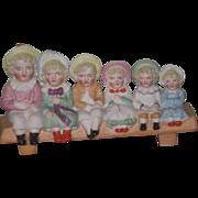 ENCHANTING Rare Antique Miniature All Bisque Figurine of Six Kate Greenaway Children!