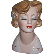 FABULOUS Hard to Find Novelty Large Size Porcelain Lady Head Vase with JEWELRY!