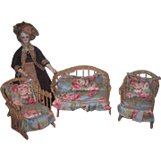 CHARMING All Original Vintage Upholstered 3 Piece Miniature Doll Wicker Furniture Set!
