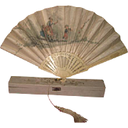 MAGNIFICENT Antique Victorian Hand Painted Silk & Bone Fan with Original Box for DOLL DISPLAY!