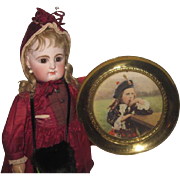 NOVELTY Antique Brass Souviner Plate W/Charming Tinted Photograph of Beautiful Scottish Lass!