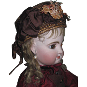 MAGNIFICENT Authentic Antique French Couture Fashion Straw Doll Bonnet!