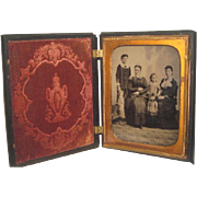 EXCEPTIONALLY RARE Antique Large Tintype of Women & FASHION DOLLS in Original Thermoplastic Daguerreotype Case!