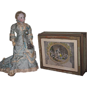 CHARMING Vintage French Style Painted Wooden Vanity/Presentation Box for DOLL DISPLAY!