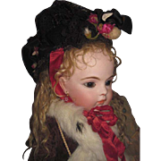 DRAMATIC Antique Black Lace/Silk & Cranberry Floral Couture Bonnet for BRU & JUMEAU Bebe!