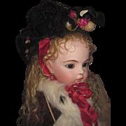 DRAMATIC Antique Black Lace/Silk & Cranberry Floral Couture Bonnet for BRU & JUMEAU Bebe!