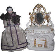 HTF Large Size Antique Miniature Mantel Porcelain Fairing Box for DOLL DISPLAY!