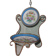 EXQUISITE Antique French Limoges Hand Painted Miniature Chair Pocket Watch Holder!