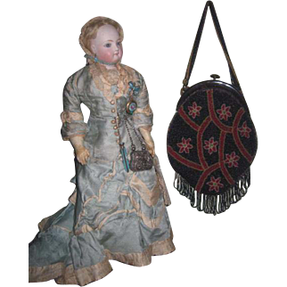DRAMATIC Antique Floral Micro-Beaded Purse/Reticule for Large ANTIQUE DOLL!