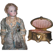 EXQUISITE Art Nouveau Gilded Metal Miniature Oval Trinket Box/Vitrine for MIGNONETTE DISPLAY!