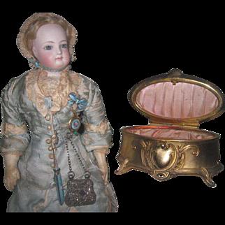 EXQUISITE Art Nouveau Gilded Metal Miniature Oval Trinket Box/Vitrine for MIGNONETTE DISPLAY!