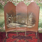 MAGNIFICENT Antique French Miniature Hand Painted Enameled Fashion Doll Screen!