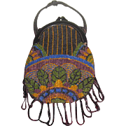 EXQUISITE Antique Hand Micro-Beaded Reticule/Purse w/PEACOCK Design!