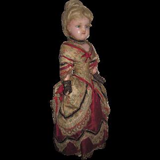 "MUSEUM QUALITY Very Rare Antique 14"" All Original Fashion Lady Wax Doll!"