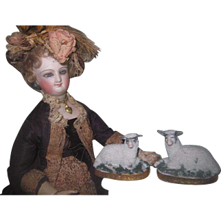 MAGNIFICENT Rare Pair of Antique German Miniature Porcelain Sheep for DOLL MANTLE!
