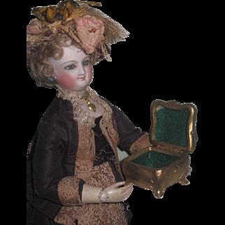 TINY Antique Miniature Art Nouveau Gilded Metal Trinket Box for FASHION DOLLS!
