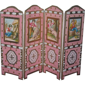SALE! MAGNIFICENT French O-O-A-K Miniature Hand Made Doll Folding Screen!