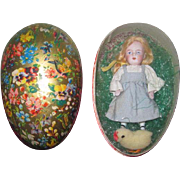 "EASTER SALE!  Sweet 4 1/2"" Antique All Bisque Kestner doll in German Lithograph Presentation Easter Egg!"