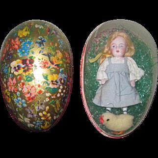 """EASTER SALE!  Sweet 4 1/2"""" Antique All Bisque Kestner doll in German Lithograph Presentation Easter Egg!"""