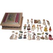 "SALE!  Enchanting Set of Vintage ""Bisque"" Paper Dolls with Hand Painted Silk Presentation Box!"