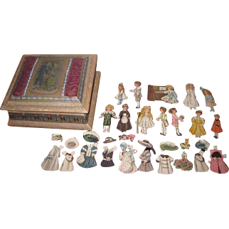"""SALE!  Enchanting Set of Vintage """"Bisque"""" Paper Dolls with Hand Painted Silk Presentation Box!"""