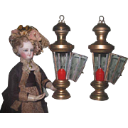 SALE!  Amazing Pair of Antique/Vintage Miniature Brass Lanterns with ETCHED GLASS!