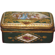 VERY RARE Antique French Sevres Miniature Hand Painted Enameled Snuff Box!