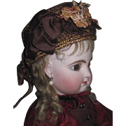 Sale! MAGNIFICENT Authentic Antique French Couture Fashion Straw Doll Bonnet!