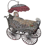 Sale! ELABORATE Large Scale Antique German Miniature Filigree Wire Carriage with Antique All Bisque Baby!