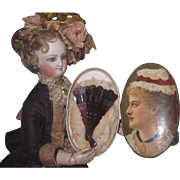 CHARMING Antique French Fashion Doll Fan in Exquisite Lithograph Presentation Box!