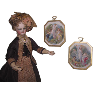 "CHARMING Pair of HTF Vintage Miniature ""Porcelite"" Pictures for your French FASHION DOLL Salon!"