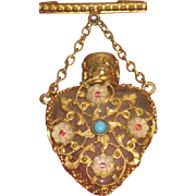 SWEET Tiny Antique/Vintage Miniature Filigree Heart Shaped Chatelaine Perfume Bottle for your FRENCH FASHION Doll!