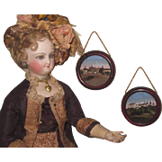 CHARMING Pair of Antique Miniature Round Reverse Paintings for your DOLL SCENE!